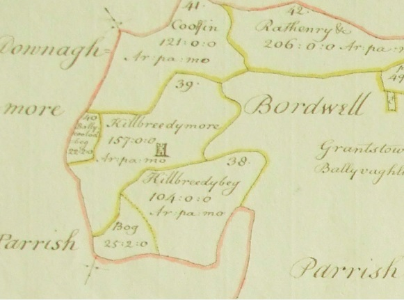 Down Survey Map of Kilbreedy 1656-58 at the time when the O' Phelans lost their lands