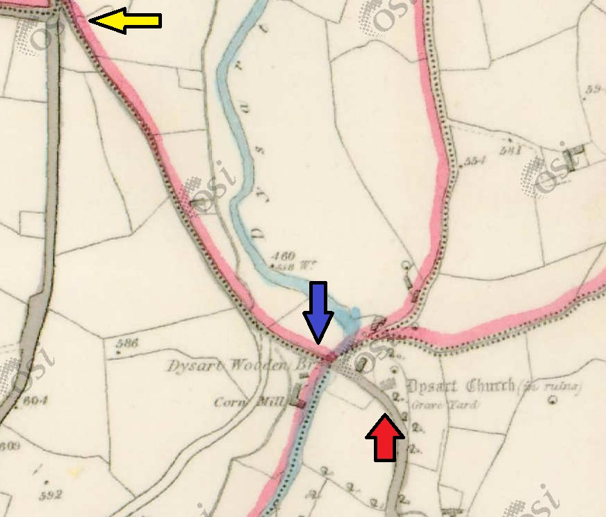 1840 ordnance survey map of the site, arrows mark sites mentioned in the text yellow (Rag Tree & High Cross Base), blue (Fording point) & red (Church & Graveyard)