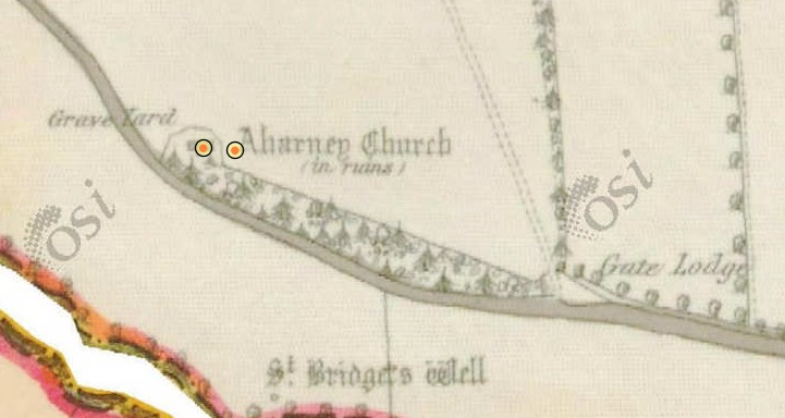 Aharney Townland 1839 OS Map depicting St. Bridget's Well