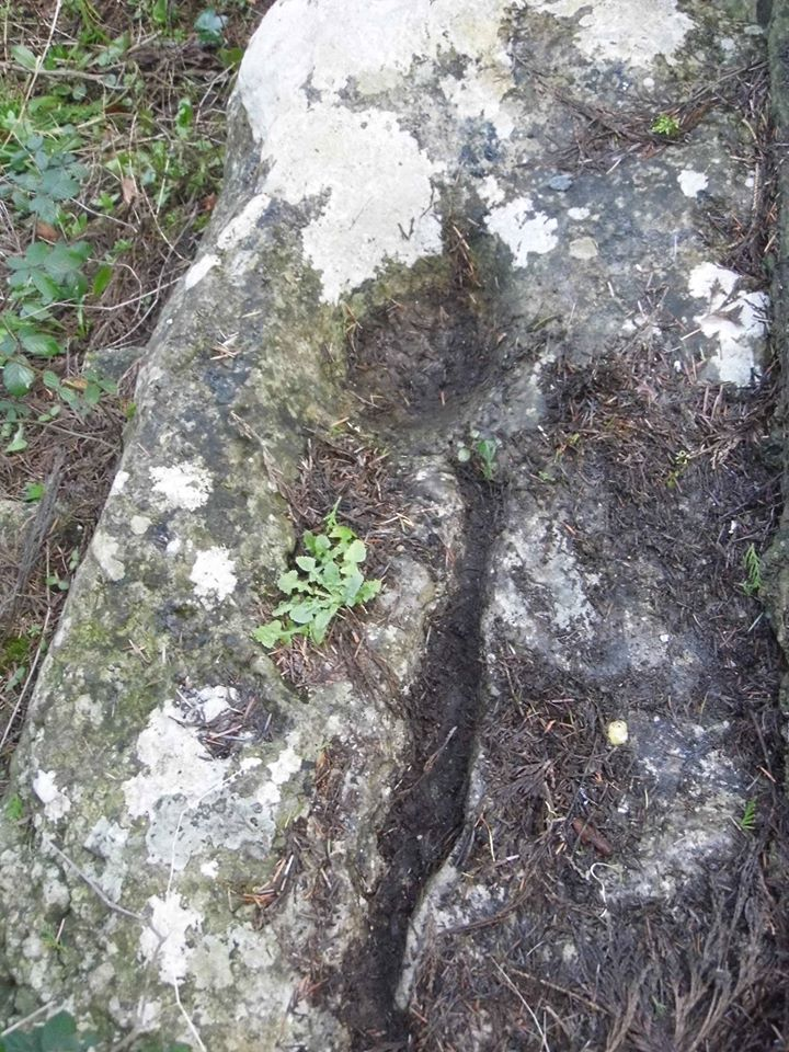 Ballaun Stone at the well at Morett with the imprints of St. Brigids knees