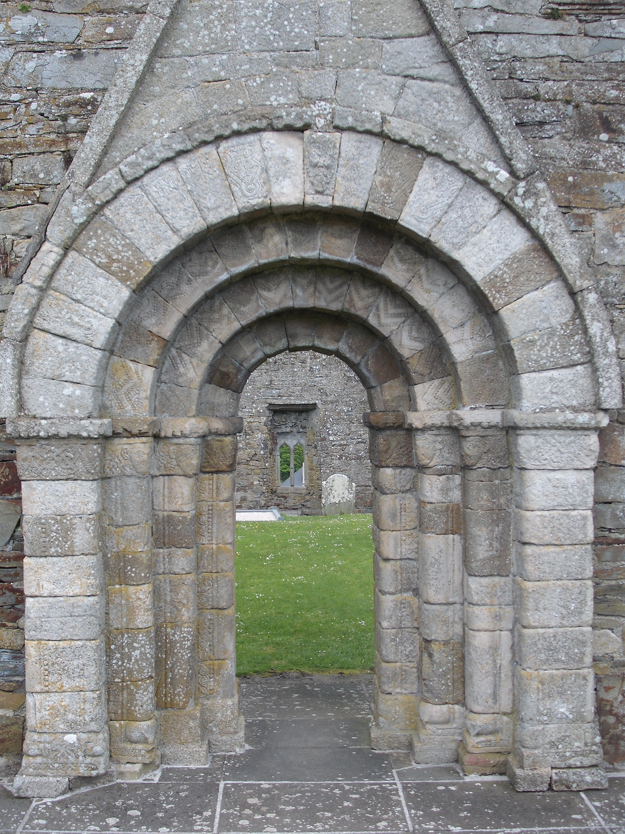 The Killeshin Hiberno-Romanesque Doorway with sketch from Leask 1925