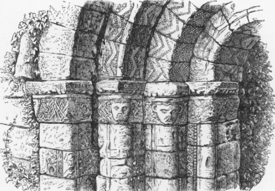 North side of the Portal with 19th Century drawing by Margaret Stokes