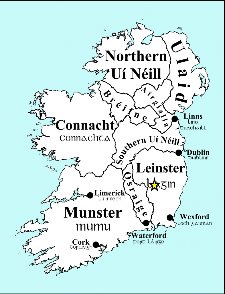 Map of the major Pre-Norman Kingdoms in Ireland approximate location of Killeshin marked with star